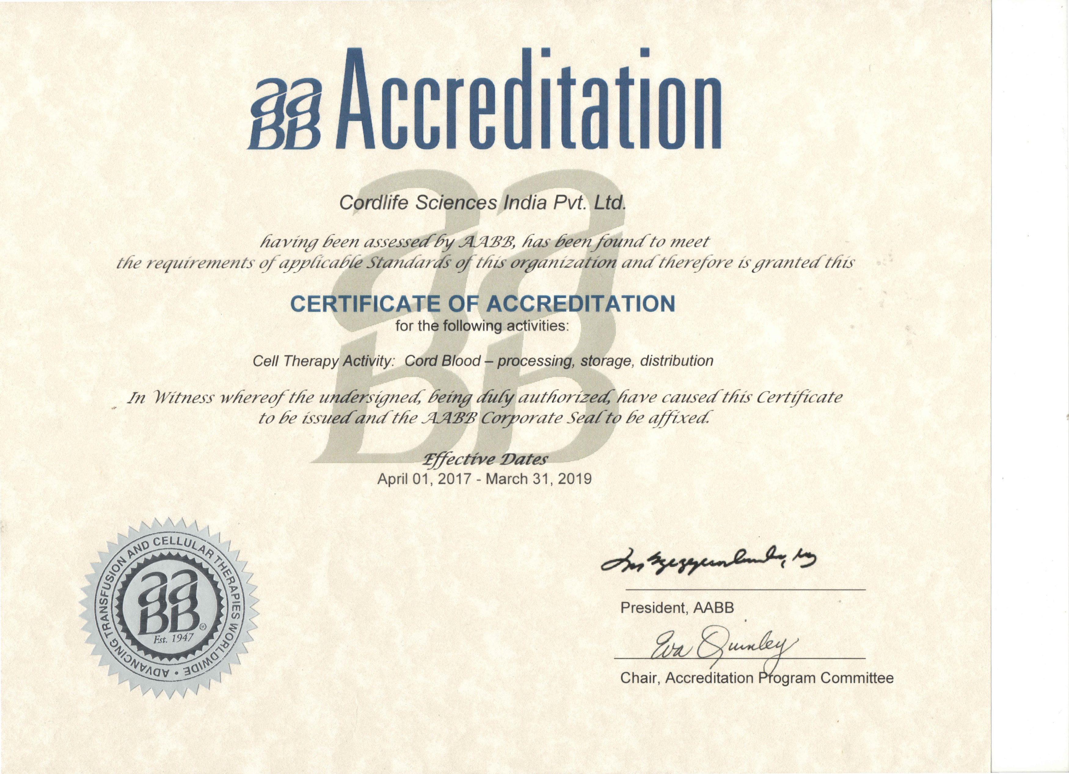 International Accreditations Certifications About Cordlife